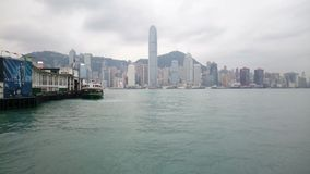 A view of Victoria Harbor in Hong Kong stock video