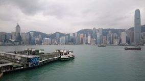 A view of Victoria Harbor in Hong Kong stock video footage