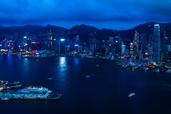 View on Victoria harbour in Hong Kong. Dusk view on Victoria Harbour in Hong Kong from Sky100 building royalty free stock photos