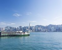 View of Victoria Harbour in Hong Kong during Royalty Free Stock Photos