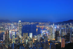 View of Victoria Harbour in Hong Kong from the Peak Royalty Free Stock Photography