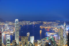 View of Victoria Harbour in Hong Kong from the Peak Stock Images
