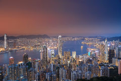 View of Victoria Harbour in Hong Kong from the Peak Royalty Free Stock Image