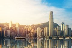 View of Victoria Harbour in Hong Kong Stock Photography