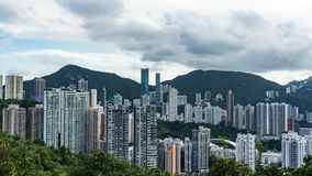 View of Victoria Harbour and skyscrapers from the panoramic point The Victoria Peak, Hong Kong. stock photography
