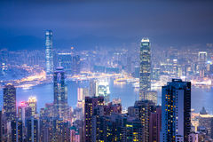 View from Victoria Peak at night Royalty Free Stock Images
