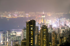 View from Victoria Peak to the business borough and the gulf in Stock Image