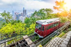 View of Victoria Peak Tram in Hong Kong.  royalty free stock image