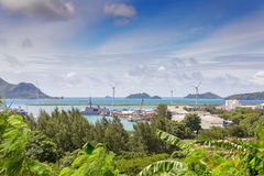 View of Victoria port, Mahe, Seychelles Royalty Free Stock Images