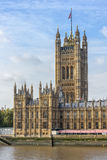 View of Victoria tower in London with copy space in sky Royalty Free Stock Photo