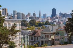San Francisco Skyline and Victorian Painted Ladies royalty free stock images