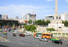 View of the Victory Monument the big military monument. BANGKOK, THAILAND - JULY 30, 2017 : View of the Victory Monument the big military monument Royalty Free Stock Photo