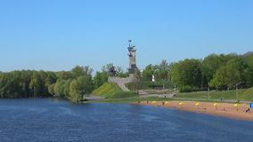 View of the Victory Monument in the Kremlin Park. Sunny may day. Veliky Novgorod, Russia. VELIKY NOVGOROD, RUSSIA - MAY 27, 2017: View of the Victory Monument in stock footage
