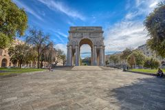 View of Victory Square, Piazza della Vittoria in city center of Genoa, Italy. Europe Royalty Free Stock Photography