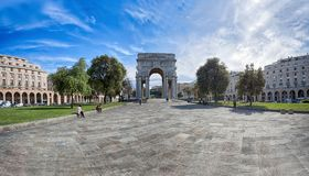 View of Victory Square, Piazza della Vittoria in city center of Genoa, Italy. Europe Royalty Free Stock Photos