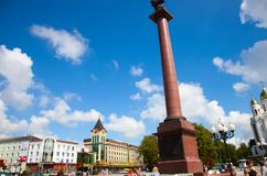 View of the Victory Square Ploshchad Pobedy, Cathedral of Christ the Saviour and Triumphal Column. Kaliningrad�s city center. Kaliningrad, Russia - August 02 Stock Image