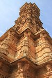 View of Victory Tower. Low angle corner view of Vijay Sthambh (Victory Tower), Chittorgarh Fort, Rajasthan, India, Asia Stock Photo