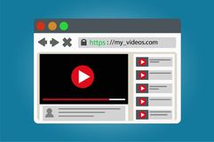 View video clips in the browser window. View video clips in internet from the browser window Stock Photos