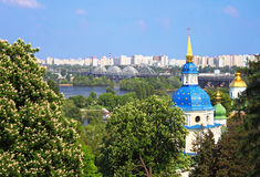 View of Vidubichi monastery and the city Kyiv Royalty Free Stock Photos