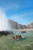 View of Vienna City. VIENNA, AUSTRIA - AUGUST 1 2015: fountain  in old town  near Schwarzenbergplatz to Soviet War Memorial on  august 1, 2015 in Vienna Stock Image