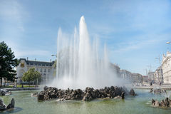 View of Vienna City. VIENNA, AUSTRIA - AUGUST 1 2015: fountain  in old town  near Schwarzenbergplatz to Soviet War Memorial on  august 1, 2015 in Vienna Stock Photography