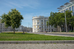 View of Vienna City. VIENNA, AUSTRIA - AUGUST 1 2015: fountain  in old town  near Schwarzenbergplatz to Soviet War Memorial on  august 1, 2015 in Vienna Royalty Free Stock Image