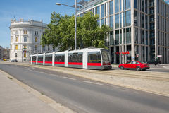 View of Vienna City. VIENNA, AUSTRIA - AUGUST 1 2015:view stop bus and bus in old town  near Schwarzenbergplatz to Soviet War Memorial on  august 1, 2015 in Stock Photos