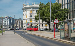 View of Vienna City. VIENNA, AUSTRIA - AUGUST 1:view stop bus and bus in old town  near Schwarzenbergplatz to Soviet War Memorial on  august 1, 2015 in Vienna Stock Photography