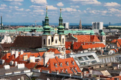 View of Vienna from the St Stephen Cathedral. Vienna - city seen from the top of Stephansdom tower Royalty Free Stock Photos
