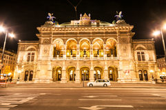 View of Vienna State Opera House by night Royalty Free Stock Photography