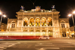 View of Vienna State Opera House by night Royalty Free Stock Photo