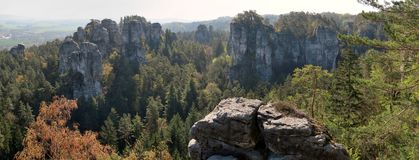 View from viepoint Janova vyhlídka to a sandstone rock town near Turnov in the Bohemian Paradise. In the Czech Republic royalty free stock photography