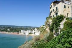 View of Vieste on Puglia. Vieste, Italy - 29 June 2016: View at the coast of Vieste on Puglia, Italy stock image