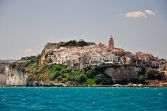 View of Vieste town from sea Stock Photos