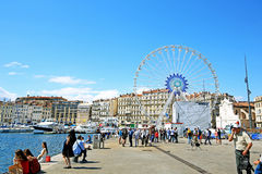 View of Vieux Port and Ferry Wheel. Landmark royalty free stock photo