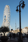 View of Vieux Port and Ferry Wheel, Marseille, France. MARSEILLE, FRANCE - DECEMBER 09, 2016: View of Vieux Port and Ferry Wheel, Marseille, France Royalty Free Stock Photos