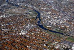 View of view downtown Missoula Montana. Aerial view of downtown Missoula and the Clark Fork In Montana USA Stock Photo