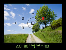 View through viewfinder during taking photos of landscape. With DSLR camera stock photo