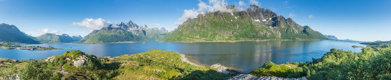 View from the viewing point in Austnesfjorden rest area, Lofoten, Norway. Panorama Royalty Free Stock Photography