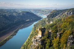 View from viewpoint of Bastei in Saxon Switzerland Germany to th Royalty Free Stock Images