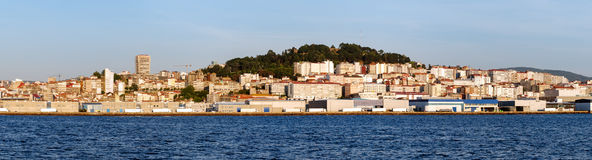 A view of Vigo from the sea at sunset Stock Images