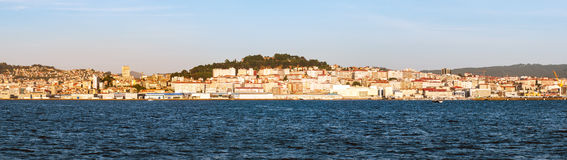 A view of Vigo from the sea at sunset Royalty Free Stock Image