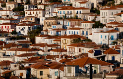 View of vilage in Poros island, Greece. View of traditional greek houses on Poros Island, Greece Royalty Free Stock Photos