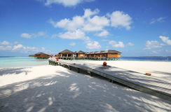 View of vilamendhoo island at the water bungalows side in the Indian Ocean Maldives Royalty Free Stock Image