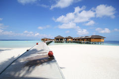 View of vilamendhoo island at the water bungalows side in the Indian Ocean Maldives Stock Image