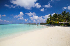 View of vilamendhoo island at the water bungalows side in the Indian Ocean Maldives Stock Images