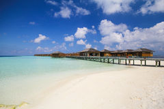 View of vilamendhoo island at the water bungalows side in the Indian Ocean Maldives Stock Photos