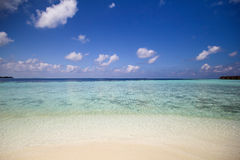 View of vilamendhoo island at the water bungalows side in the Indian Ocean Maldives Stock Photo