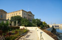 The view of Villa Bighi with garden. Kalkara. Malta. The view of Villa Bighi, formerly a Bighi Royal Naval Hospital and now the Malta Centre for Restoration Royalty Free Stock Images