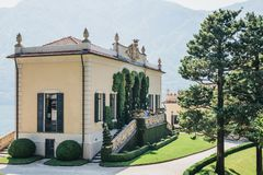 View of Villa del Balbianello, Lenno, Lake Como, Italy. View of Villa del Balbianello, Lake Como, Italy. The Villa was used as setting for several notable films royalty free stock images